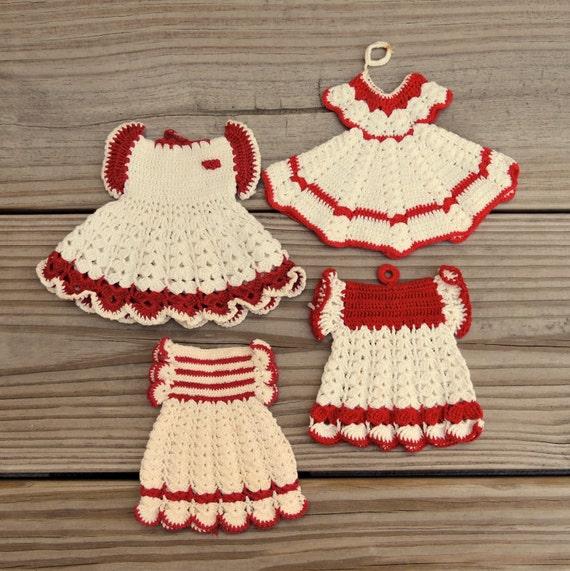 Easter Pot Holders Crochet: Red Dress Vintage Crochet Pot Holders / Crochet Dresses Pot