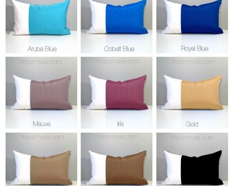 Custom Outdoor Pillow Cover, Modern Color Block, Decorative Throw Pillow Case, Red Yellow Orange Blue, Sunbrella Colorblock Cushion Cover