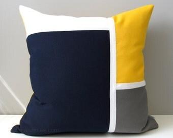 Navy Blue & Yellow Outdoor Pillow Cover, Modern Nautical Pillow Cover, Decorative Color Block, White Grey Sunbrella Pillow Cushion Cover