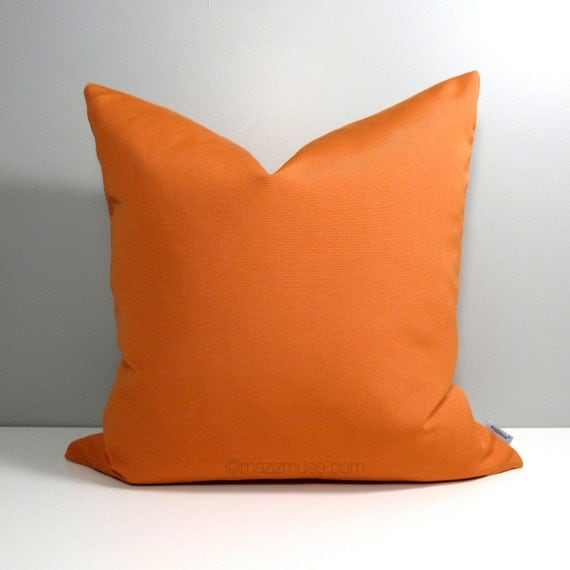 Modern Orange Pillow : Orange OUTDOOR Pillow Cover Modern Home & Garden by Mazizmuse