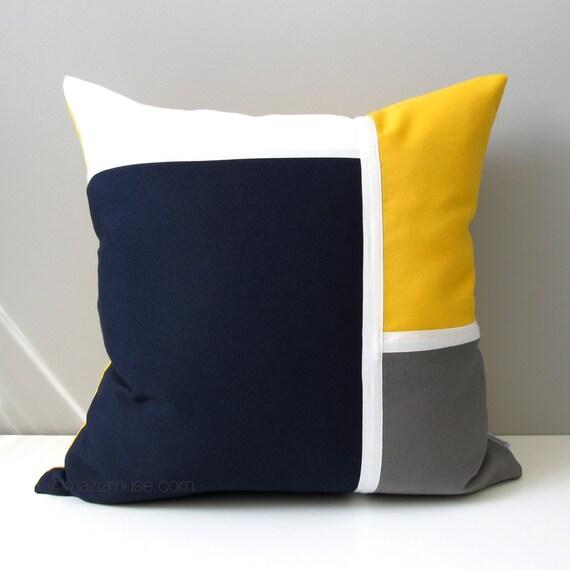 Navy Blue & Yellow Outdoor Pillow Cover Modern Nautical