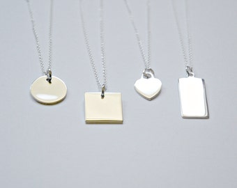 Personalized necklace, sterling silver, engraved disk, personalized heart, square, engraved bar pendant, tag, custom name, Cameron