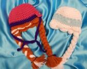 SALE - Frozen Sister Hats- Anna - Elsa - Costume - Photographer's Prop