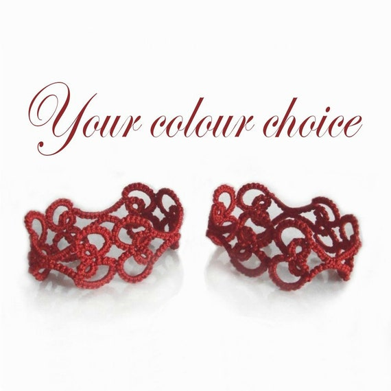 Tatted Heart Napkin Rings - Your choice of colour - Valencia - Set of Two