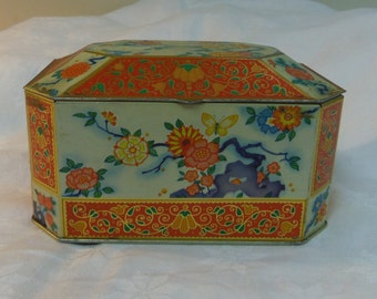 Biscuit Tin, Gray Dunn Scotland Orange Chrysanthemum Flower Oriental Style Rustic