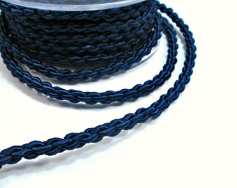 """Satin thick """"chain"""" braided silk cord, blue, 1m"""