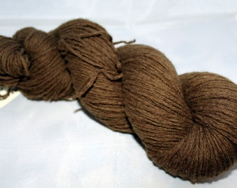 Recycled Yarn, Moss Brown Lambswool Blend Yarn, Worsted Yarn - 262 Yards
