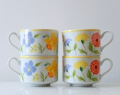 Vintage Porcelain Spring Flower Cups - Set of 4 Teacups - Made in Japan