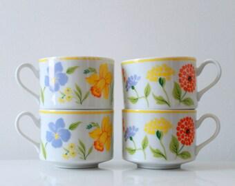 Vintage Porcelain Spring Flower Cups - Set of 4 Teacups - Made in Japan