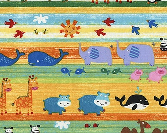 Novelty Fabric by Timeless Treasures Animals Multicolored Stripes Stripe Lining up For Noahs Arc