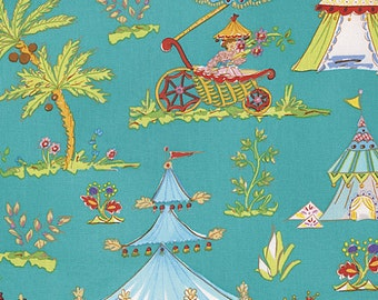 Haute Girls Fabric by Dena Designs Pink Toile Ornate Beach Tents with Palm Trees on Aqua