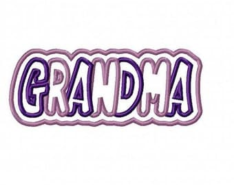 Grandma 2 Color Embroidery Machine Double Applique Design 4295