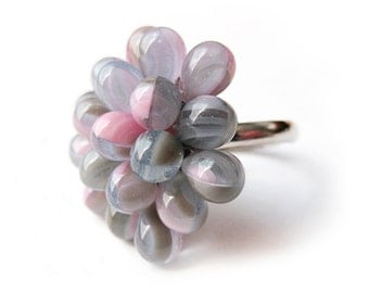 Small Pastel Berry Ring - Limited Edition Ring, Pink Purple Green & White Twirl, White Pink and Purple Cocktail Ring, Pastel Statement Ring