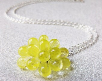 Yellow statement necklace, Lemon Berry Necklace - Limited Edition, Yellow Glass Cluster Necklace, Bridesmaid Gift Idea
