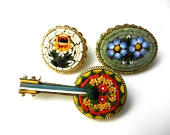 Vintage Italian 1950 - fabulous micro mosaic brooches ITALY brand - Italian Florentine Art- 3 pieces--Art.634/3 -