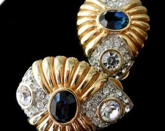 Nolan Miller Glamour Collection - Nolan Miller Simulated Diamonds Blue sapphire  clip on -- Art.769/3--