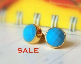 Turquoise Bezel Set Stud Post Earrings.....LIMITED EDITION