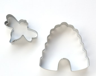 Bee and Beehive Cookie Cutter Set (2 cookie cutters) Bee Baby Shower, Bee Cookie Cutter, Beehive Cookie Cutter