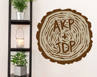 Custom Carved Tree Trunk - Printed Trees and Branches Flowers Wall Decals