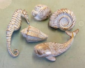 5 Drawer Pulls Knobs Seahorse Whale Fish Nautilus Conch Nautical Beach House Set of 5 Color Options Available