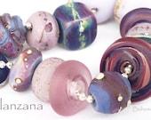Distressed Organic Tumbled Artisan Lampwork Beads Eggplant Purples