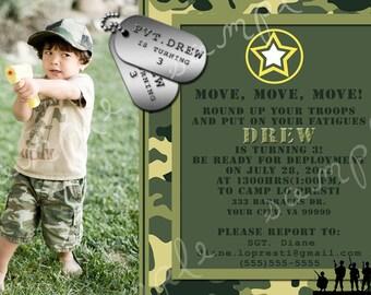 Customizable Army Birthday Invitation Printable Digital File