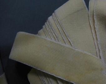 Vintage French velvet ribbon silk rayon velvet Bridal 1 1/2 inch W Cream Y2100