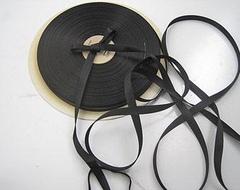 Vintage Tubular satin ribbon narrow ribbon black satin ribbon Doubled sided satin ribbon  Black ribbon 3/8 inch 3 YD price