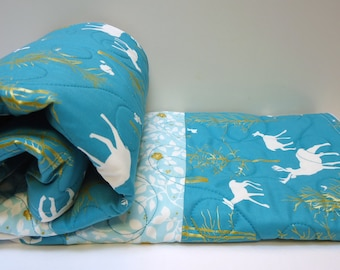 Modern Baby Quilt-Rustic Baby Boy Bedding-Woodland Animal-Teal Blue-Brambleberry Ridge-Deer-Fox Baby Blanket