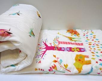 Safari Elephant Baby Quilt-Modern Woodland Gender Neutral-Origami Oasis-Animal Baby Blanket
