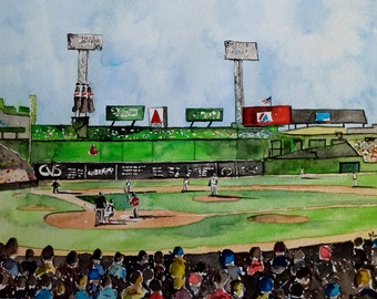 "Original Watercolor Print- ""Fenway Park"" Limited Edition Print"