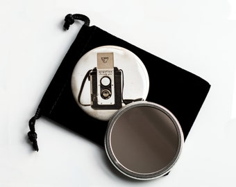 "The Argoflex - Vintage Camera Photograph - Sepia Vintage Look- Pocket Mirror - 2.25"" with Velvet Pouch"