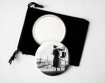 "Boston Harbor Artist - Black & White Reproduction of a Vintage Photograph - 2.25"" pocket mirror with a velvet pouch"