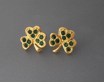 Avon Rhinestone Shamrock Earrings, Green Rhinestone Earrings, Avon Earrings, St. Patrick's Day Jewelry, Irish Earrings