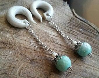 Light Aqua Crackled Agate Stone Drop Gauged Earrings Plugs