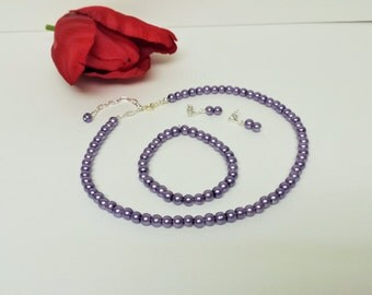 Dark Lavender Pearl Necklace Set - Bridesmaid Jewelry Set - Flower Girl Pearl Gift Set - Bridal Set - Prom Jewelry - Classic 3 Piece Set