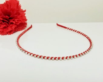 Crimson Red Satin Ribbon Enhanced Rhinestone Bridal Headband for Bridesmaid, Prom, Flower Girl or Wedding Party