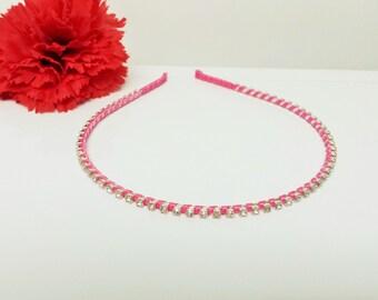 Rose Pink Satin Ribbon Enhanced Rhinestone Bridal Headband for Bridesmaid, Prom, Flower Girl or Wedding Party