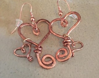 Beautiful Handmade Copper Double Heart Earings