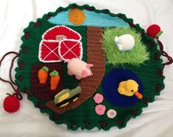 Crocheted Farm Play Mat Handmade