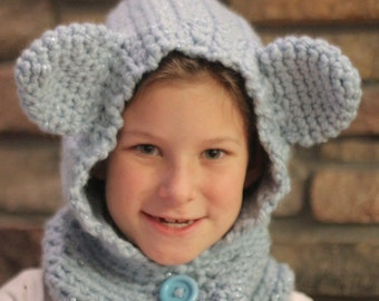 SALE - Hooded Bear Cowl - Crochet - Made to Order all sizes and colors
