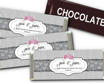 12 Candy Bar Wrappers, Party Favors, Grey Stripes & Hearts, Roses, Wedding, Bridal Shower, Baby Shower, Birthday