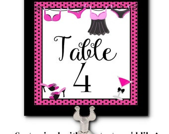 Table Number Cards, Food Labeling Cards, Bachelorette Party, Bridal Shower, Lingerie Party, Hot Pink and Black, Sexy Lingerie