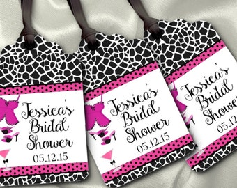 12 Favor Tags, Gift Tag, Bridal Shower, Lingerie Shower, Bachelorette Party, Sexy Lingerie, Hot Pink and Black Colors, Animal Prints,