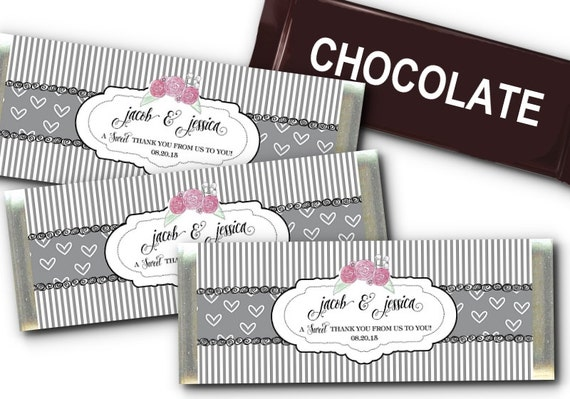 12 Candy Bar Wrappers Party Favors Grey Stripes Hearts Roses