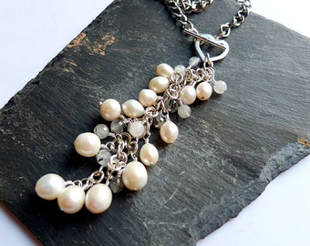 Boho chic pearl necklace, freshwater pearls, statement necklace, black rutile quartz, unique, one of a kind