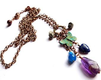 long boho necklace, amethyst, lapis lazuli heart, pyrite nuggets, verdigris patina butterfly charm, copper chain, unique ooak