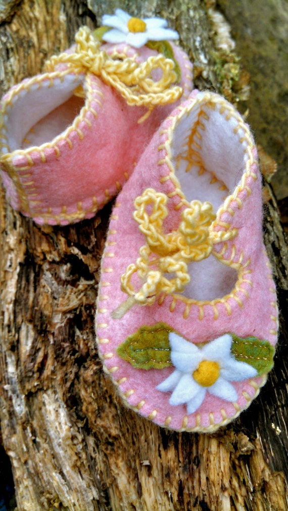 Made To Order Waldorf Spring Daisy Baby Slippers
