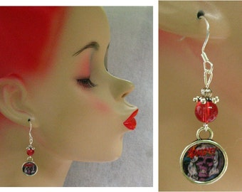 Zombie Comic Strip Charm Dangle Earrings Handmade Silver Red Hook Alloy 1.75 inches Accessories Fashion