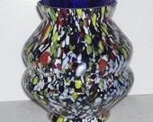 Colorful Modern Art Speckled Glass Spatter Glass Vase, End of Day, Cobalt blue Vase with Speckled Glass, Home Decor, Artist Studio,Brillant